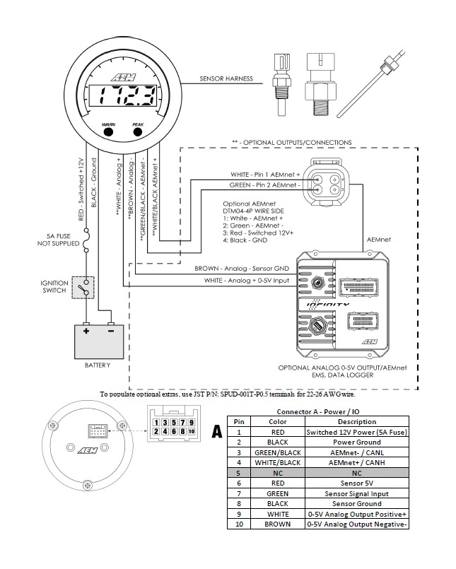 How to Install AEM Electronics X-Series Oil Pressure Gauge ... Oil Pressure Gauge Internal Wiring Diagram on