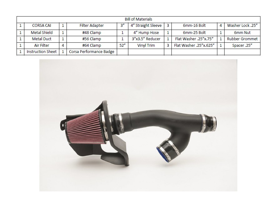 How to Install Corsa APEX DryFlow Metal Cold Air Intake (15-17 2 7L