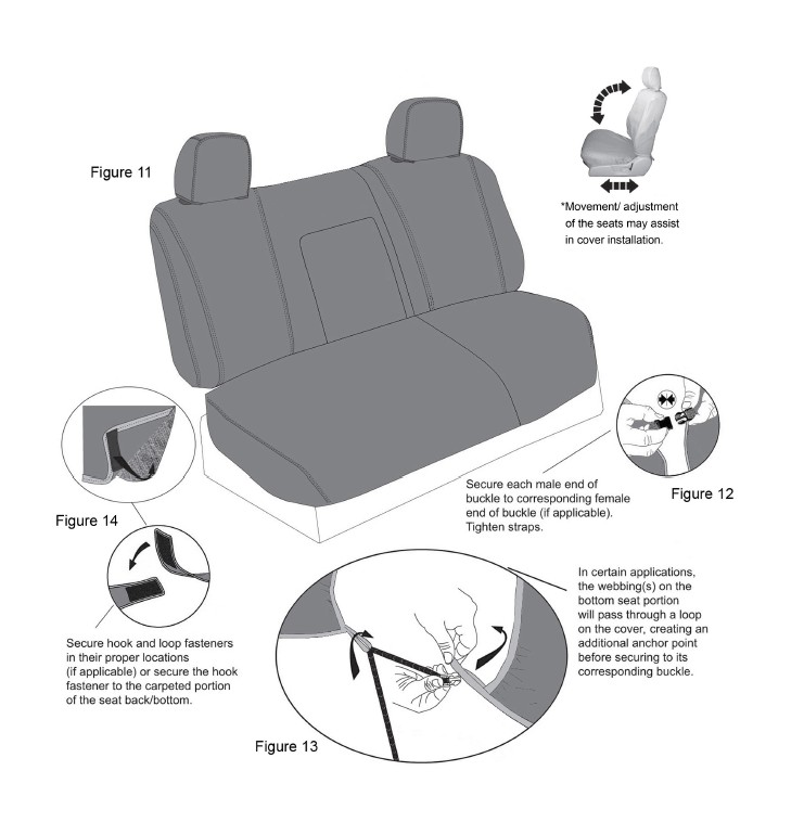 Ln Certain Applications The Backrest Cover Will Have A Hook And Loop Closure In Back To Accommodate Center Seatbelt Installing