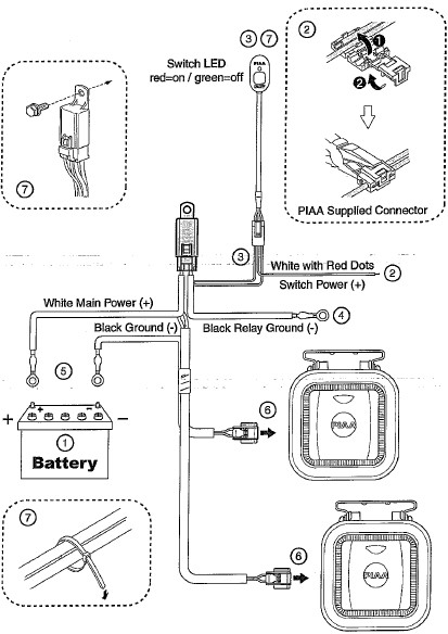 how to install piaa 410 series 3.5 in. square white ... piaa 520 wiring diagram